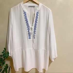Octavia • White Peasant Blouse w/ Blue Embroidery